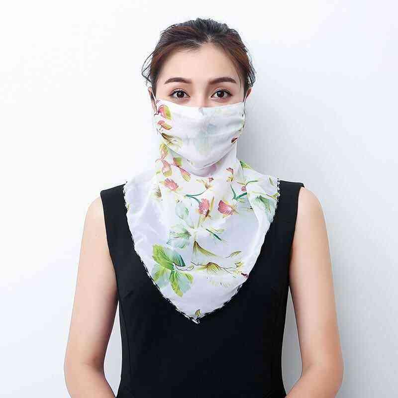 Lightweight Face Mask Scarf Sun Protection Outdoor Silk Scarfs Handkerchief