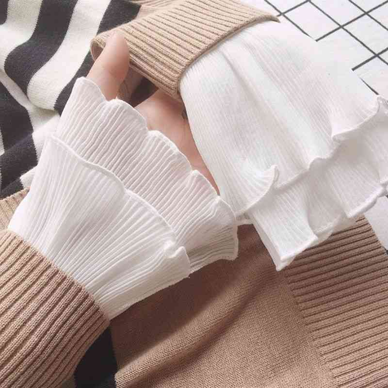 Layered Ribbed Striped Horn Cuffs - Detachable Fake Sleeve Wrist Warmer