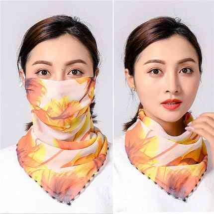 Cycling Face Mask, Summer Silk Scarf Sun Protection Printed Mouth Cover