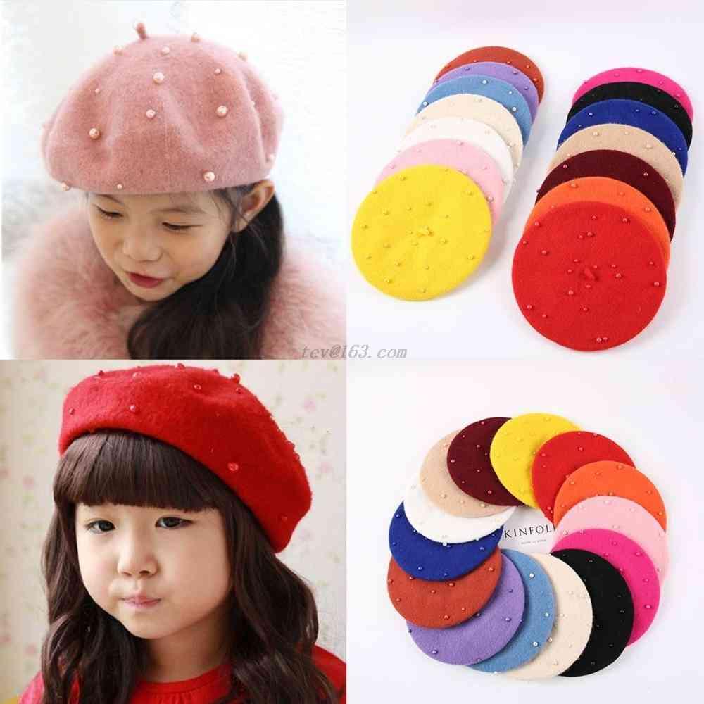 Baby Feminina Hipster Pearl Wool Felt Beret Multicolor Painter Cute Hat