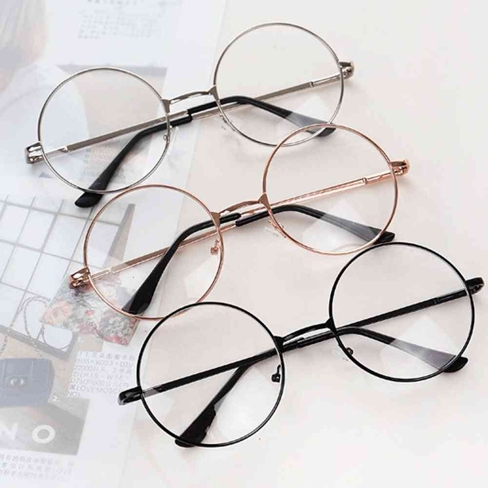 Fashion Metal Frame Clear Lens Oversized Round Eye Glasses