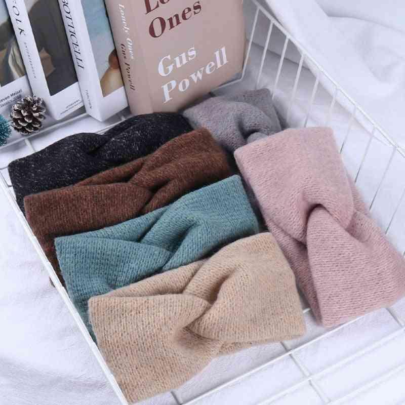 Women, Solid Knitting Cross Knot Woolen Warm Headbands