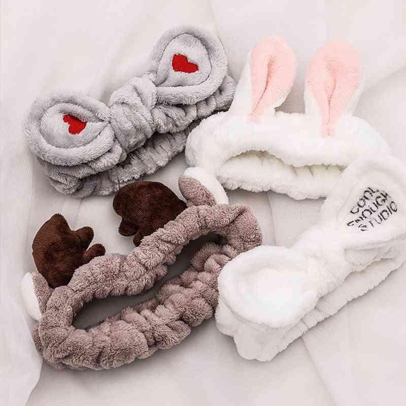 Soft Warm Coral Fleece Bow, Animal Ears Headband,