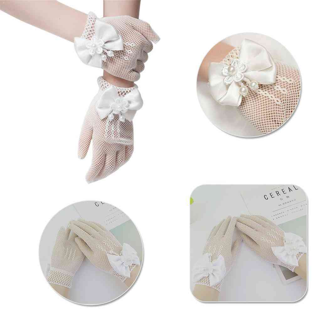 Communion Party Flower Bride Accessories, Ceremony Dress, Bow-tied Glove