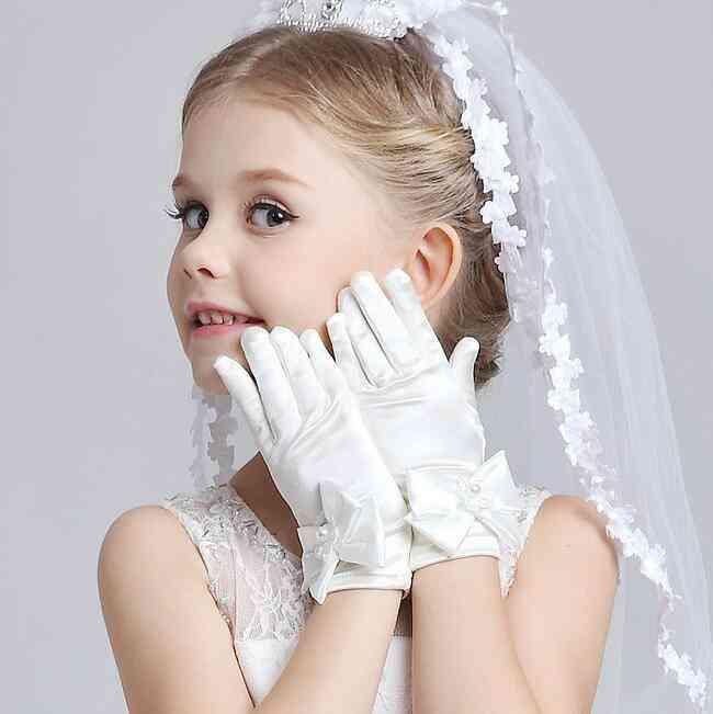 Children's Satin Elastic Long Gloves For
