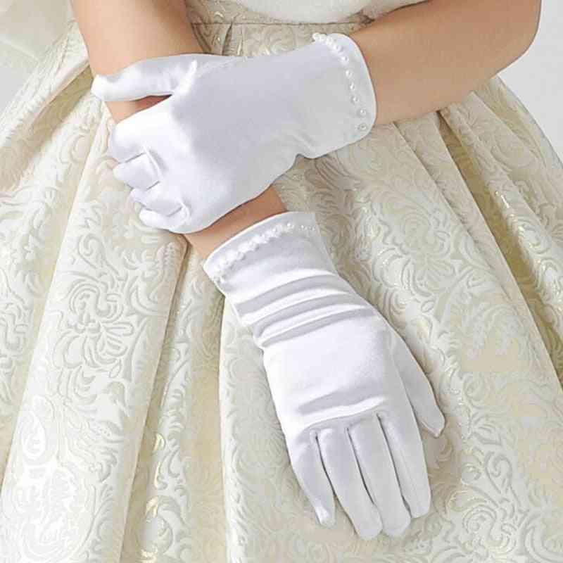 Etiquette Gloves, Pearl Short Lace Bow Halloween Christmas Princess Dance Mittens