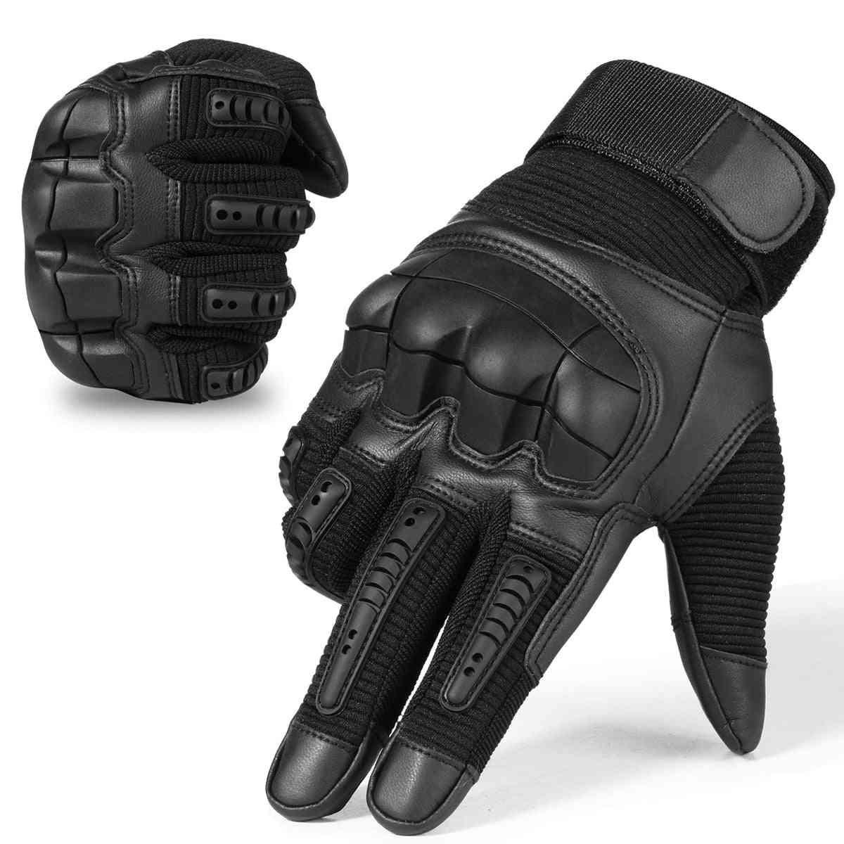 Men Full Finger Shockproof, Anti-slip Pu Leather Gloves