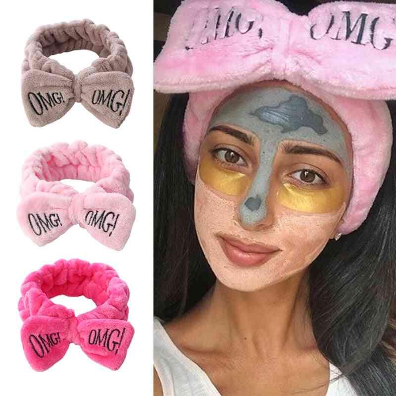 Girls Bow Wash Face Turban Makeup Elastic Hair Bands Accessories