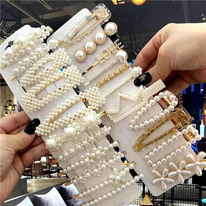 Handmade Pearls Hair Clips Pin, Geometric Flower Barrettes Headwear