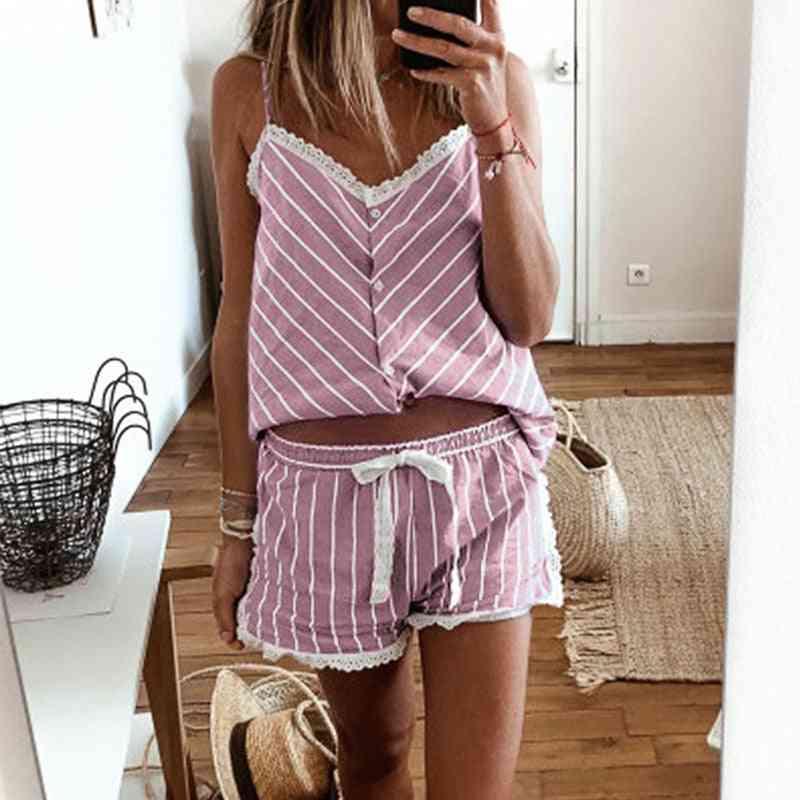 Women's Stripe Pajamas Sleeveless Camisole Shorts Set