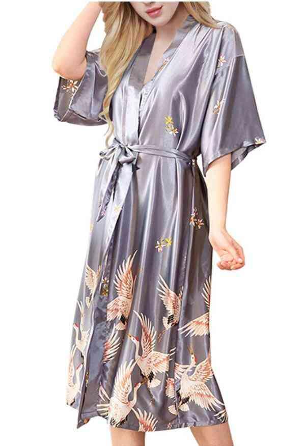 Women Nightgown Sleepwear Print Crane Kimono Long Bathrobe