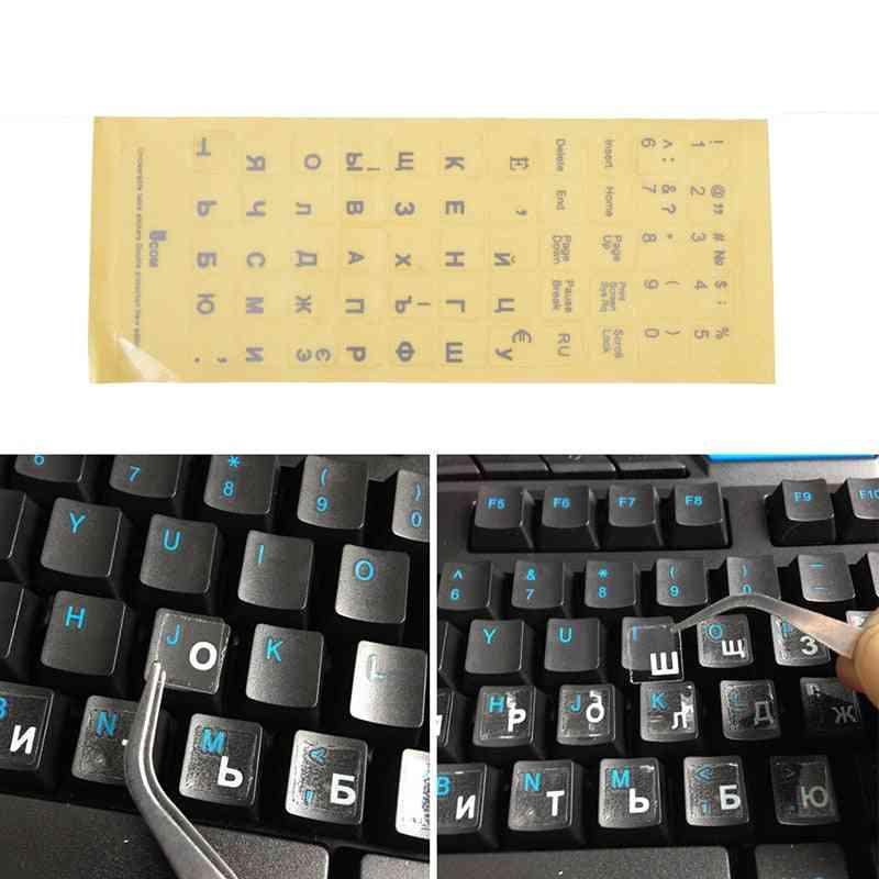 Waterproof And Dustproof, Russian Letter Transparent Keyboard Stickers