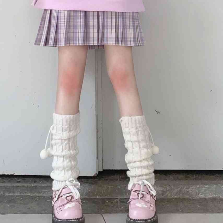 Japanese Sweet Girl Leg Warmers Wool Ball Knitted Foot Cover