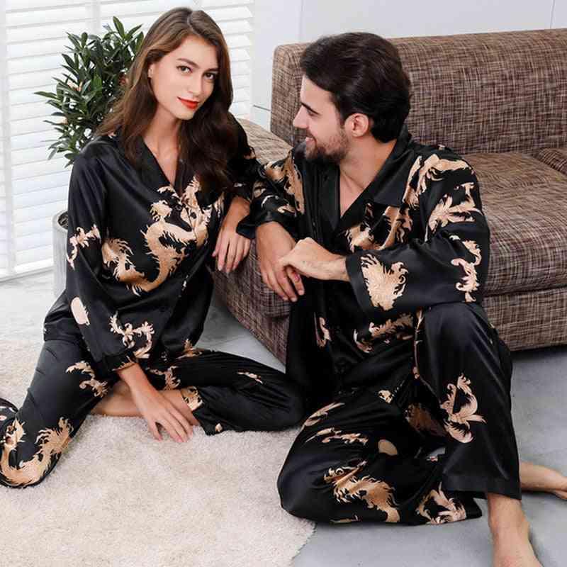 2pc Set Of Silk Satin Sleepwear Suit And Man