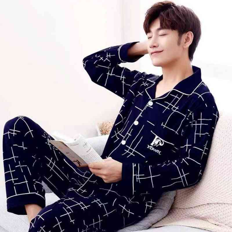 Summer Casual Striped Cotton Pajama Sets For Men