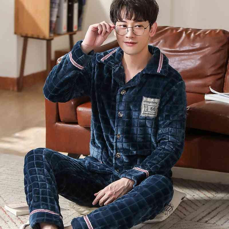 Winter Thicken Warm, Soft Night Sleepwear Suit For Men