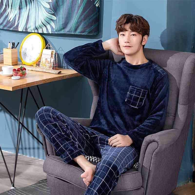 Winter Long Sleeve Thick Warm Flannel Pajama Sets For Men Coral Velvet Sleepwear Suit