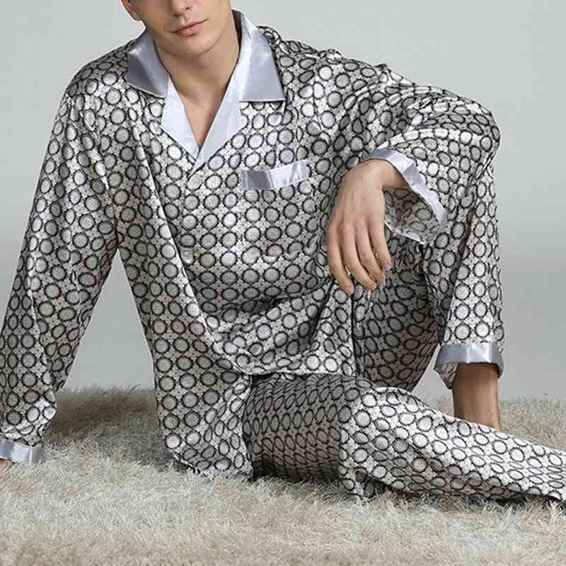 Modern Style Silk Nightgown Home Male Satin Soft Cozy Sleeping Pajama Sets