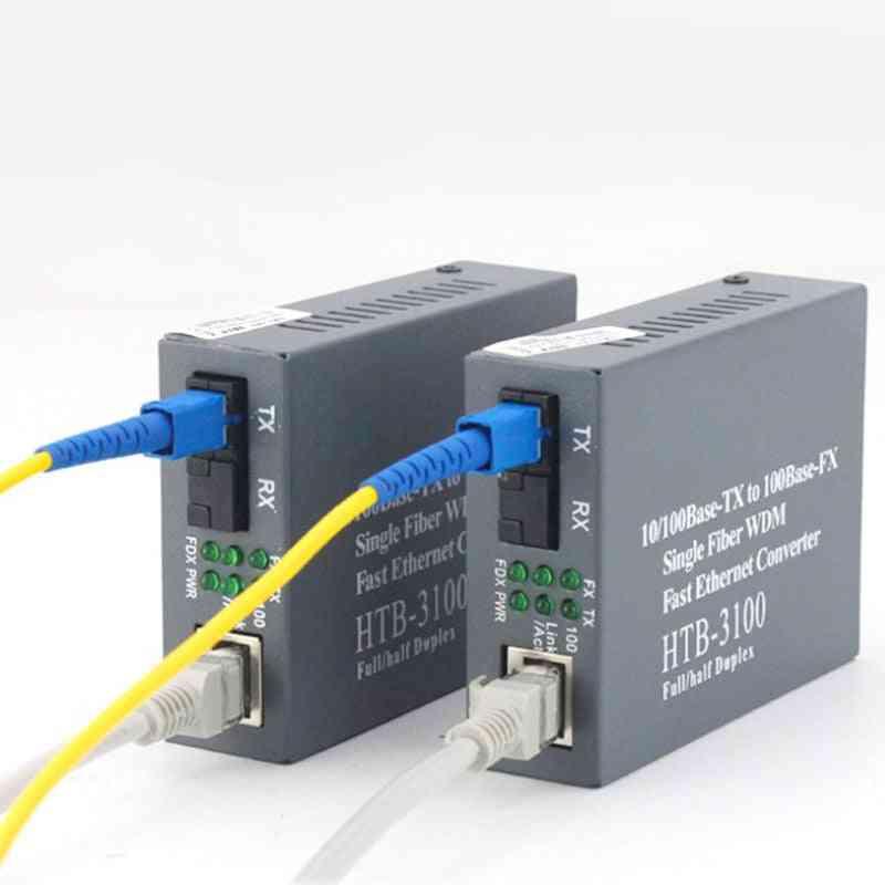 Optical Fiber Transceiver, Photoelectric Converter Rj45 Connector - Single-mode Fiber