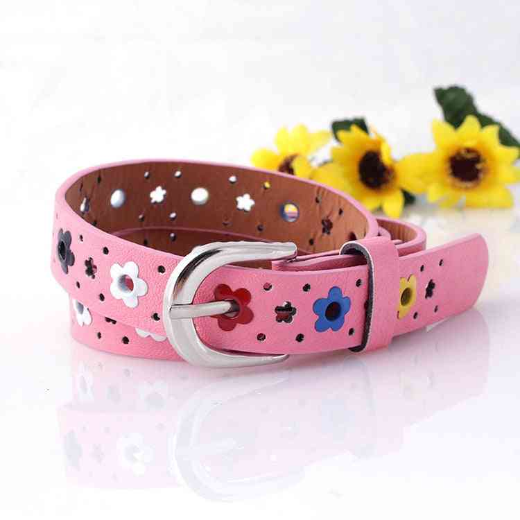 Belt Colorful Flowers Butterfly Hollow Leisure Pin Buckle