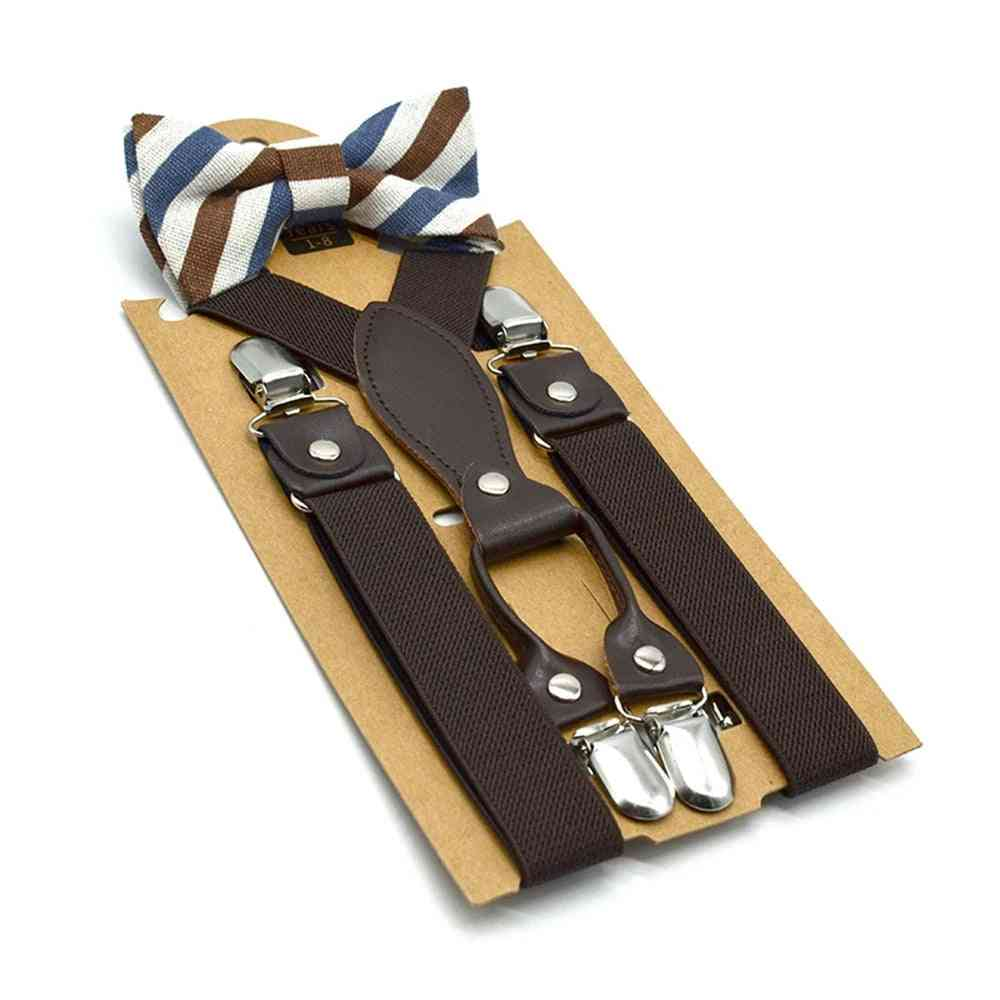 British Style Suspenders With Bow Tie,  Kids Solid Wedding Braces