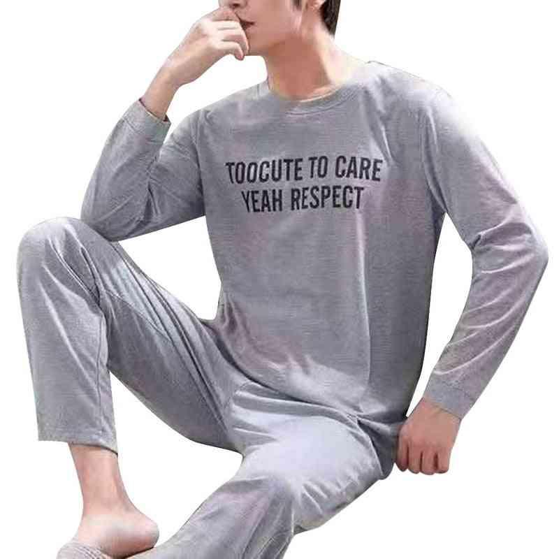 Men Cotton Letter Striped Sleepwear Pajama Sets