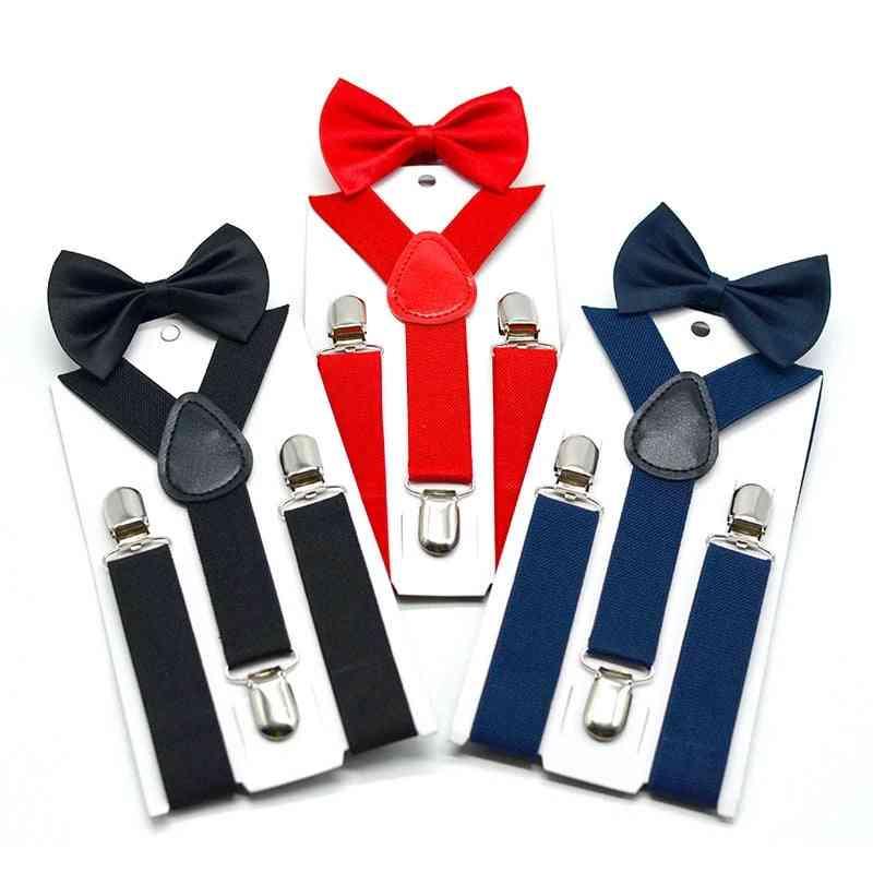 Adjustable Elastic Kids Suspenders With Bowtie,, Set Braces