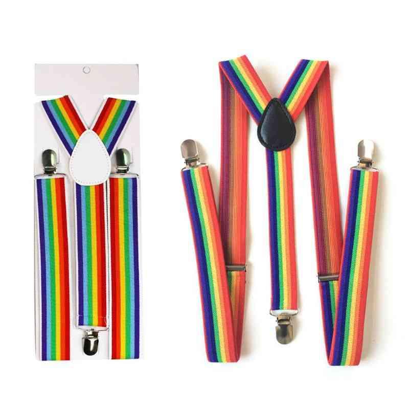 Children Rainbow Strap Striped Suspenders Belt