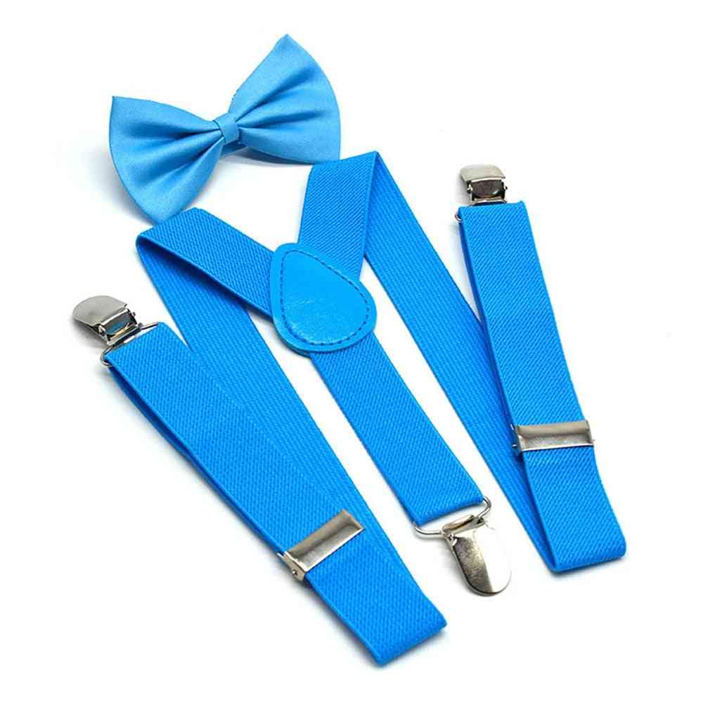 Boys Suspenders Kids,, Braces Bow Tie Set