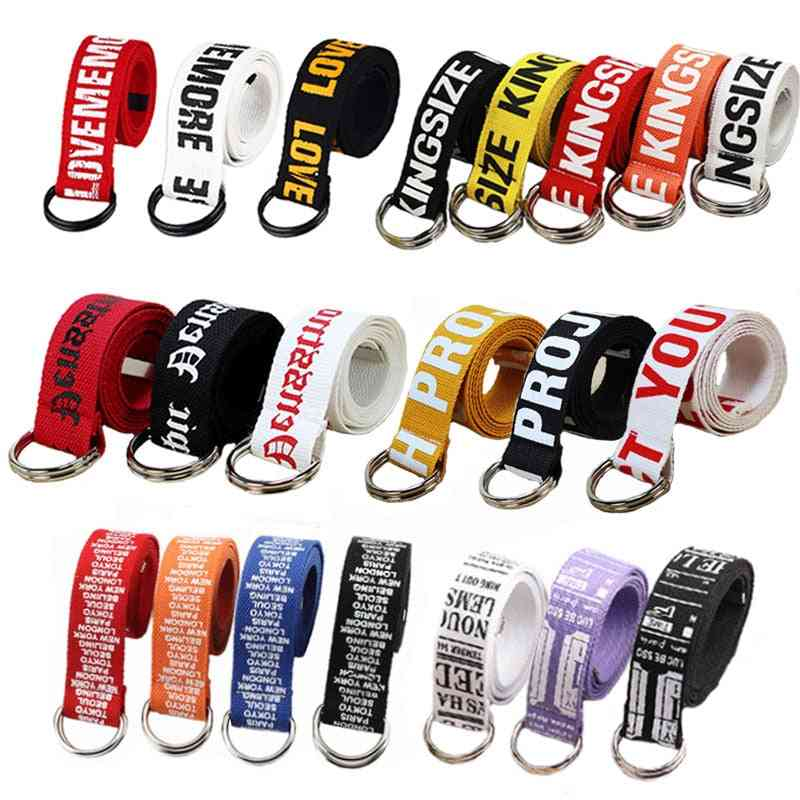 24 Styles, Letters Printed Unisex Canvas Belts With D Ring Double Buckle