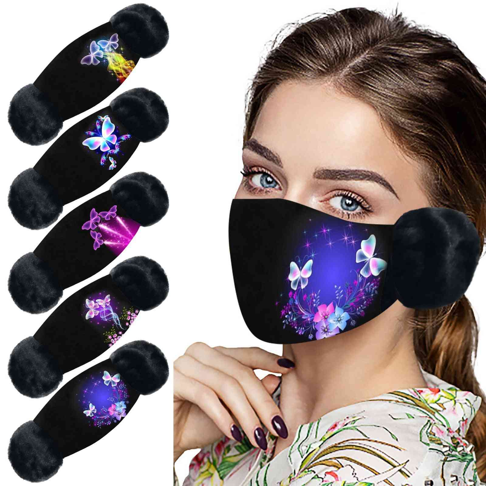 Women Outdoor Riding Butterfly Earmuffs With Mouth Cover
