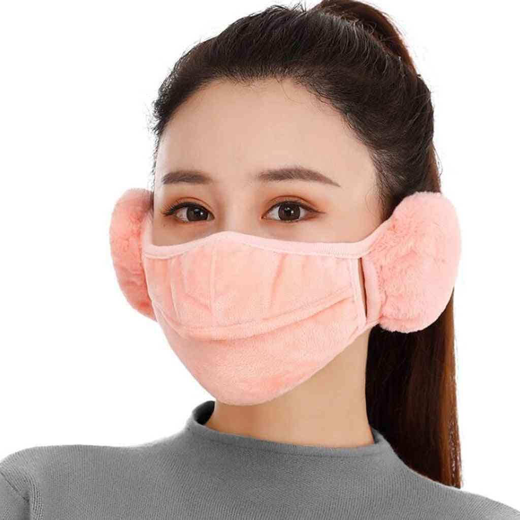 Winter Women Earmuff, Mouth Cover Outdoor, Velvet Warm Masks