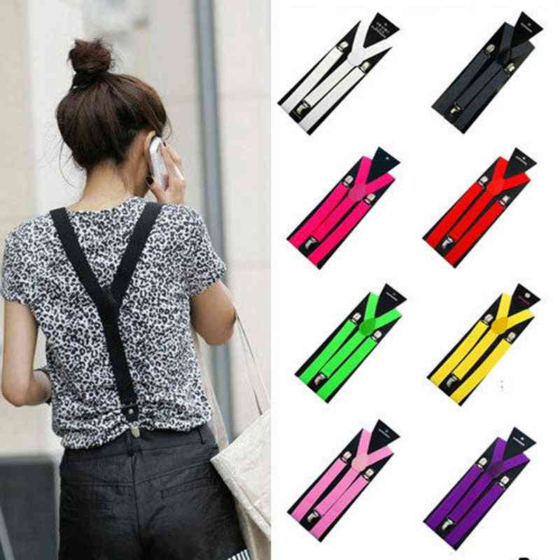 Mens, Womens Clip-on Suspenders, Elastic Y-shape Adjustable Braces