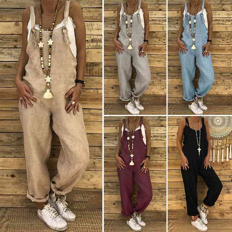 Casual Solid Strappy Dungarees- Cotton Linen Loose Jumpsuits For Women