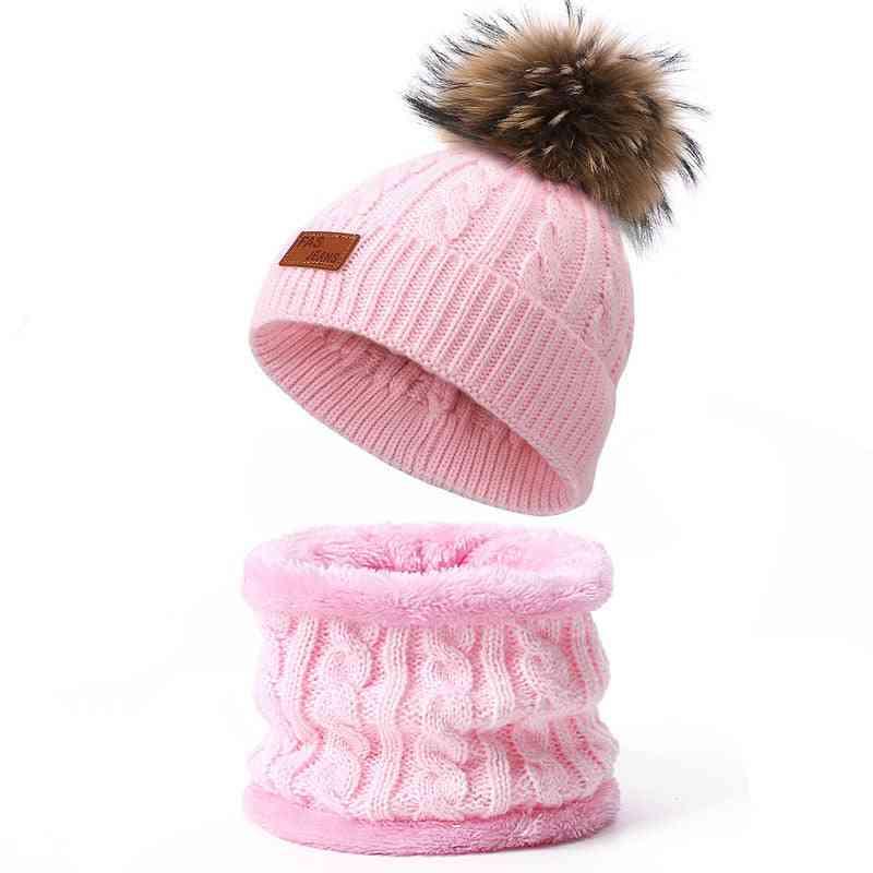 Children's Hats, Scarf Set, Pompon Beanie Winter Cap