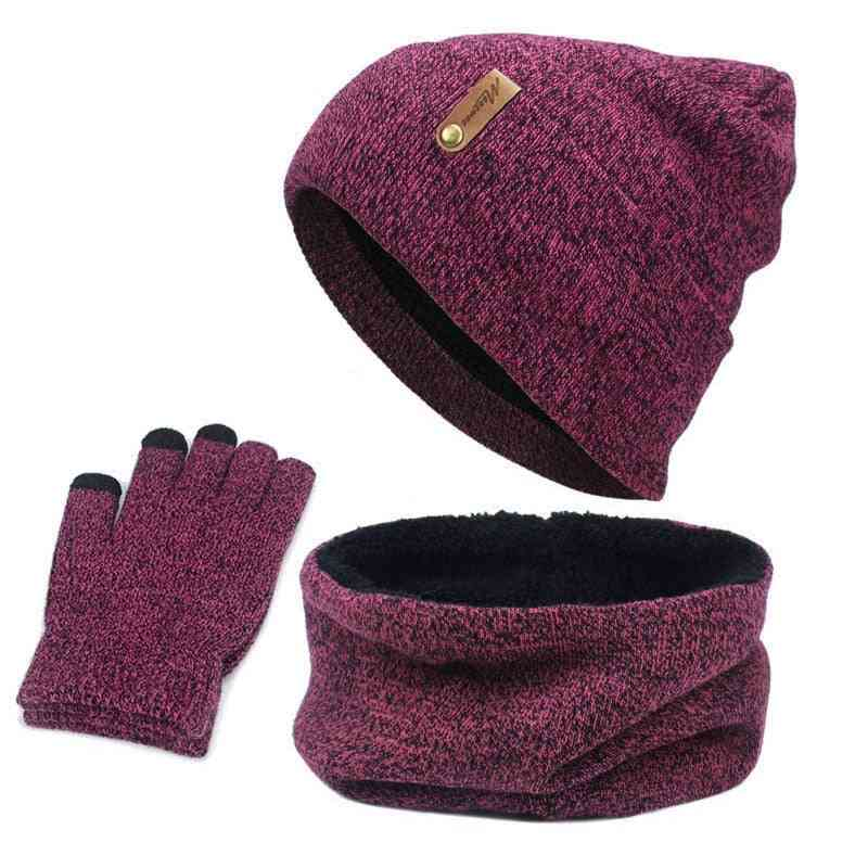Warm Knitted Circle Neck Scarf, Screen Touch Finger Gloves, Hat For Female