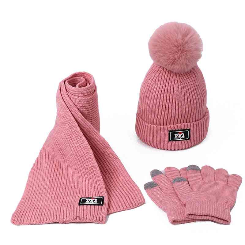 Knitted Scarf, Pompom Beanie Hat And Gloves Set