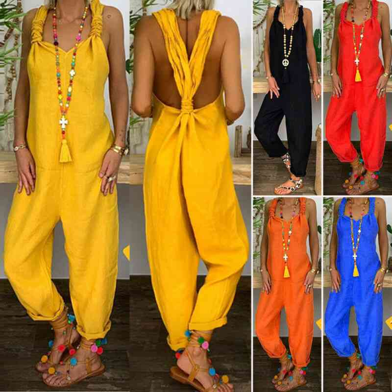Women's Casual Strappy Dungarees-cotton Linen Loose Jumpsuits