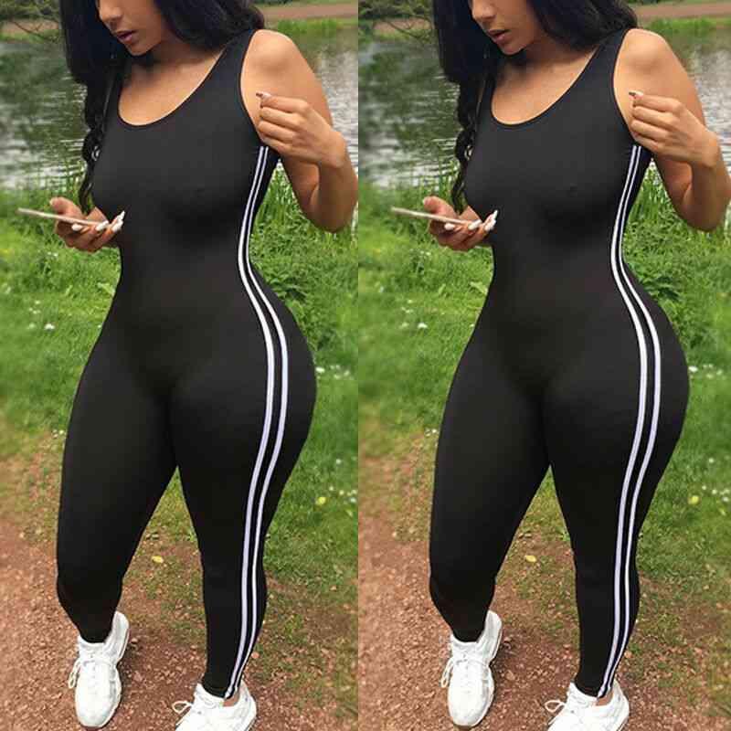 Women's Striped Athletic Jumpsuit