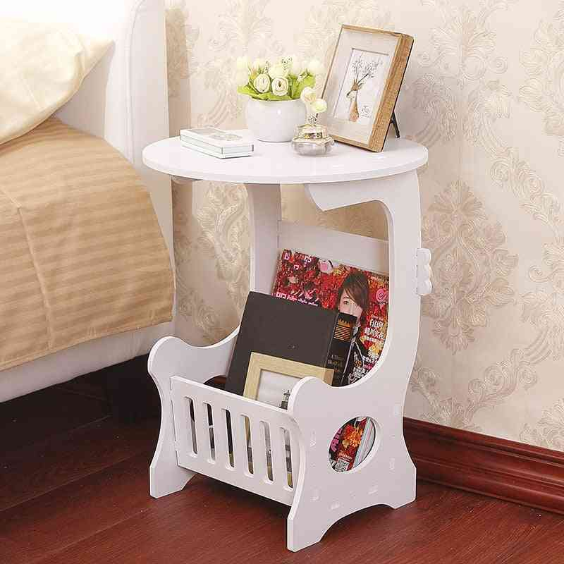 Mini Plastic Round Coffee Tea Home Living Room Storage Rack Bedside Table