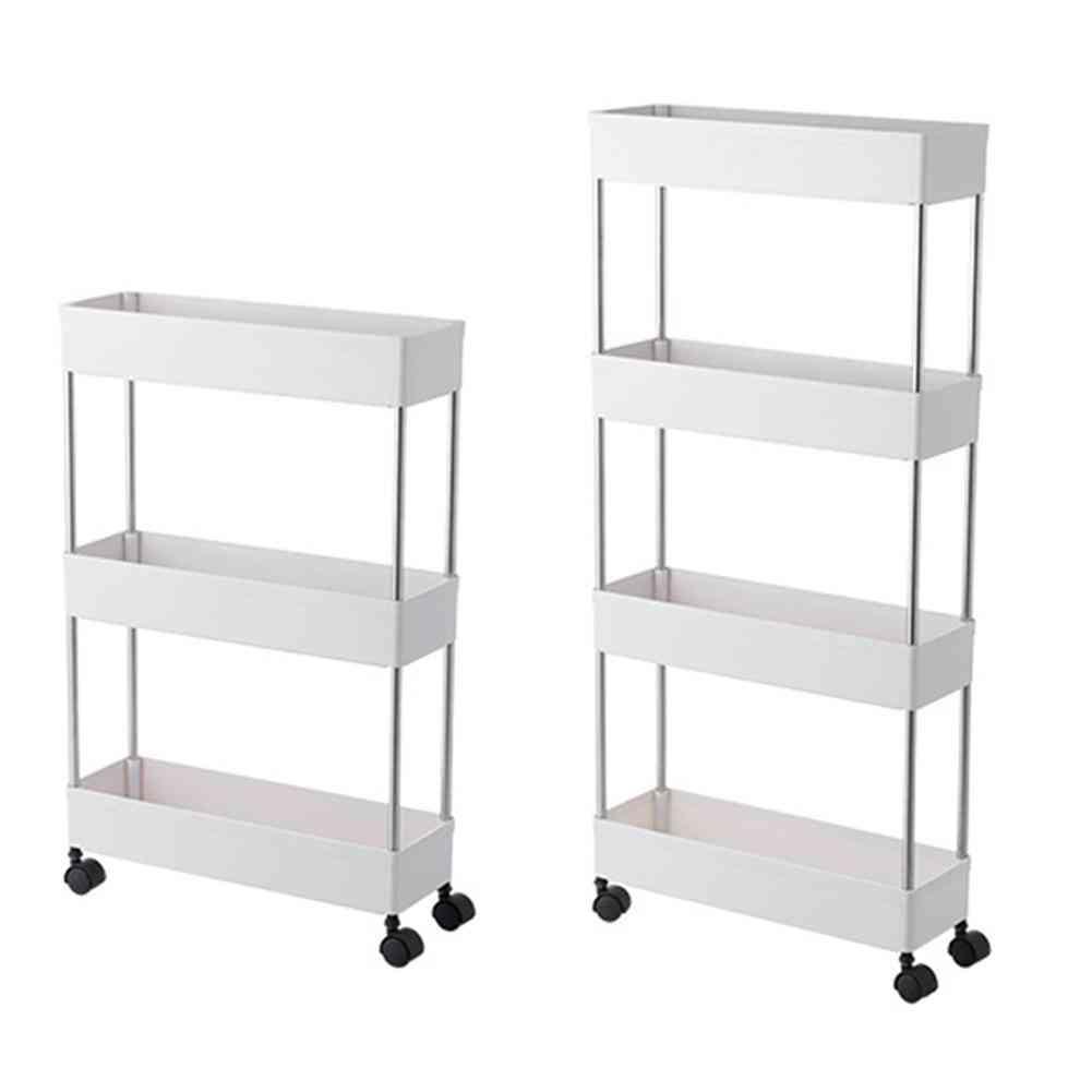 4 Tier Slim Storage, Slide Out Storage Rolling Utility Cart Tower Rack
