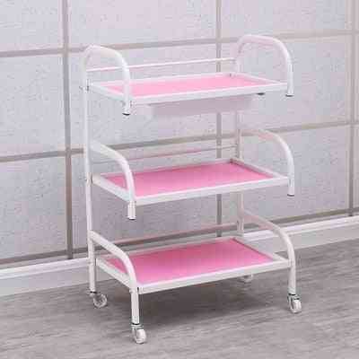 3 Layers Beauty Salon Trolley With Wheel And Drawer - Portable Storage Rack