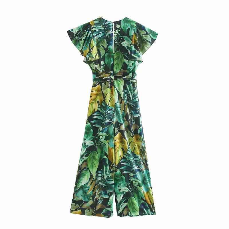 Women Tropical Green Leaves Print Wide Leg Rompers