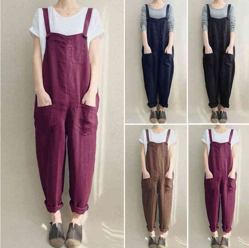 Womens Overall Jumpsuits, Oversize Ladies Dungarees With Pockets