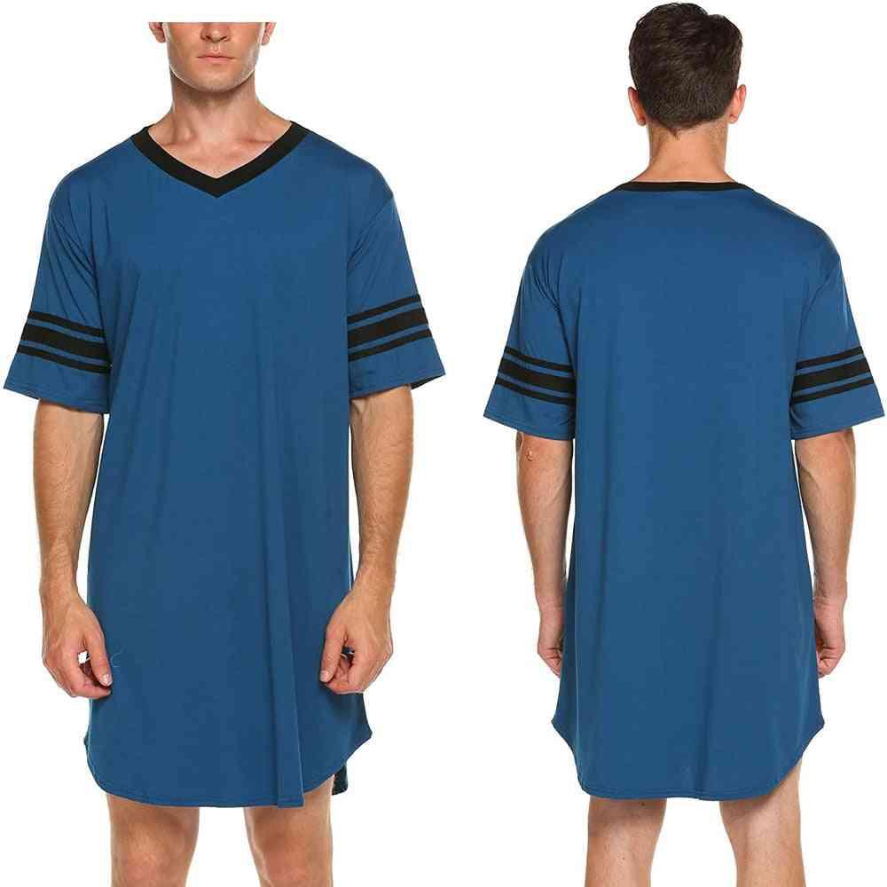 Breathable Long Summer Loose Tops, V Neck Sleepwear