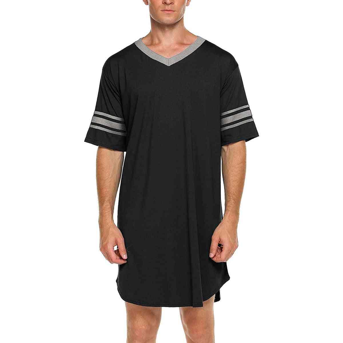 Men Cotton Casual Short Sleeve, Long Nightshirt Soft Loose Night Sleepwear