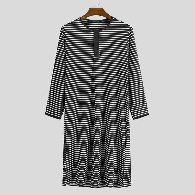 Men Stripe Sleep Tops Long Sleeve Round Neck Nightgown Comfortable Sleepwear