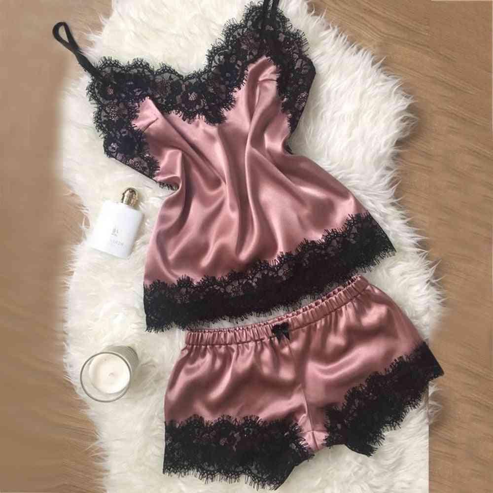 Women Silk Lace Loose Solid Sleeveless Dress Babydoll Nightgown Sleepwear Clothes