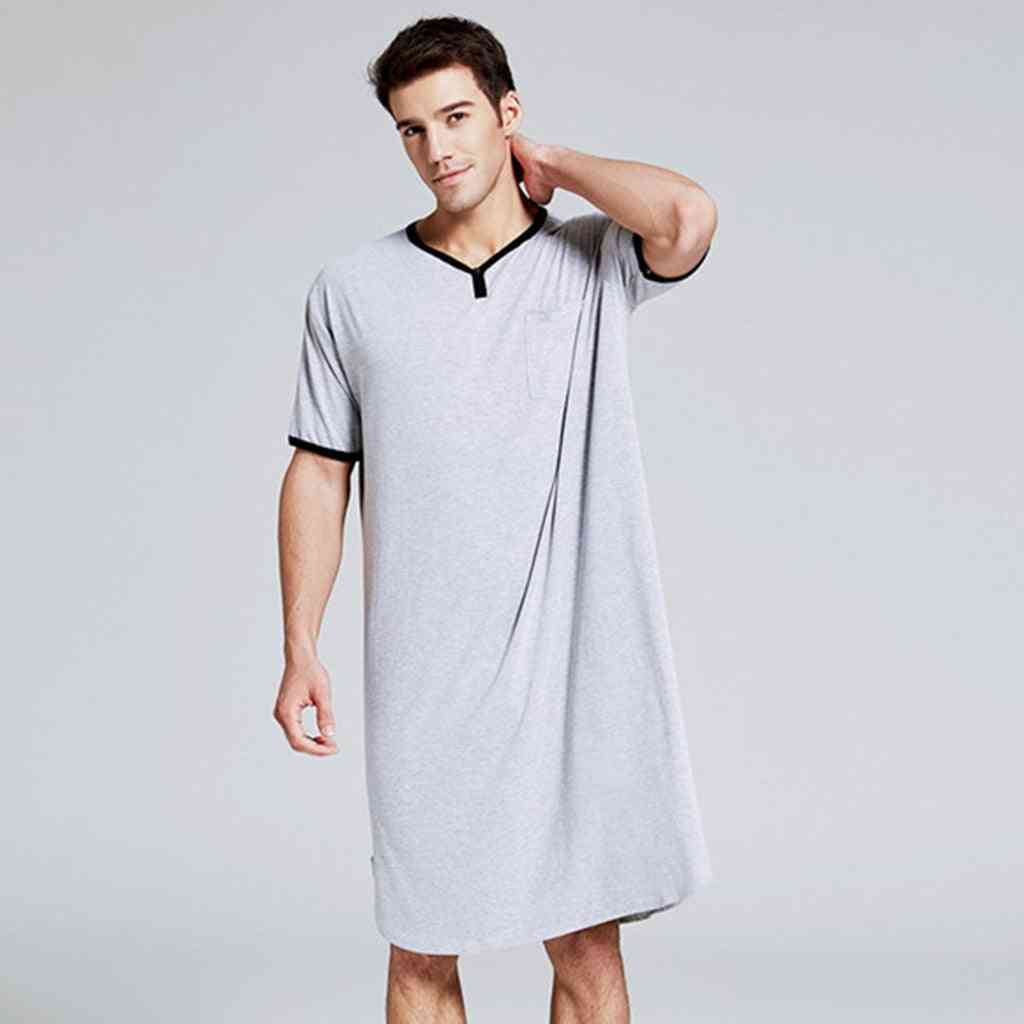 Men Long Short Sleeve Nightwear Night Shirt Soft Comfortable Home Clothing