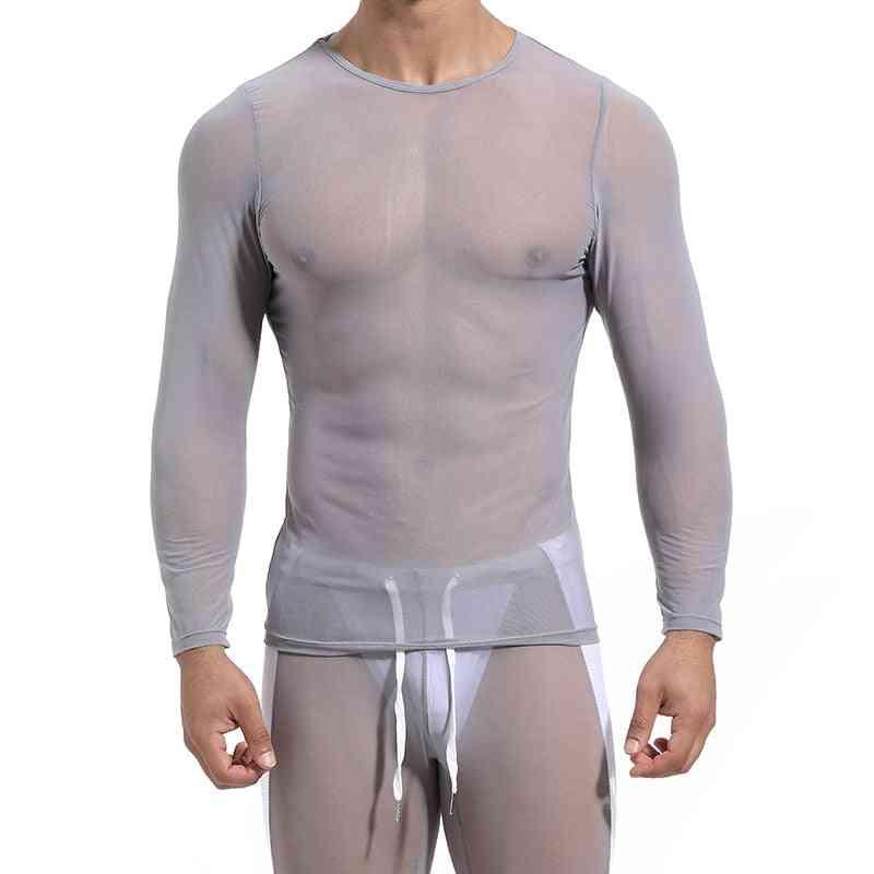 Men's Mesh See-through Fishnet Shirt Long Sleeve Nightclub Wear, Streetwear Tops
